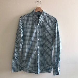 J Crew button-up teal green plaid